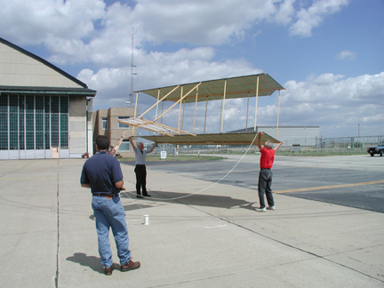 Photo of the first attempt to fly the Wright replica
