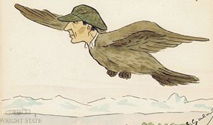 Cartoon of Wilbur as a bird